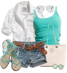 Light jean shorts, light brown braided belt, teal undershirt, white rolled-up-sleeved shirt, blue jeweled earrings, teal strappy sandals.