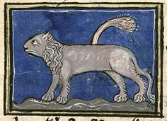 A sad lion. The odd spikey shape above its back does not appear to be its tail, though what it is meant to be is not clear.