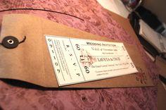 Train ticket wedding invite - clever!  Love the envelope!