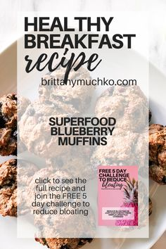 Click to see the full recipe and try these delicious superfood blueberry muffins. They are gluten free, dairy free, and great for restoring gut health! Holistic Nutrition | Gut Health | Weight Loss | Healthy Snacks | Healthy Muffins | Healthy Breakfast | Vegan Recipes #brittanymuchko #glutenfree #dairyfree #weightloss #guthealth #holisticnutrition #holistichealth Healthy Muffins, Healthy Breakfast Recipes, Healthy Snacks, Dairy Free Recipes, Vegan Recipes, Reduce Bloating, Healthy Eating Habits, Holistic Nutrition, Blue Berry Muffins