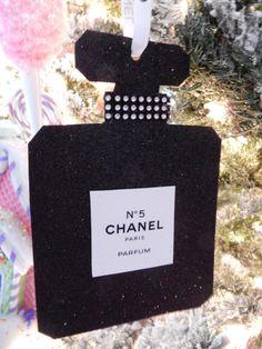 CHANEL INSPIRED PERFUME BOTTLE CHRISTMAS TREE ORNAMENT LARGE GLITTERY GLAM