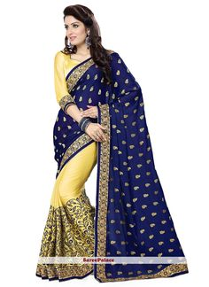 Light Yellow And Dark Blue Half N Half Saree