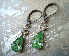Green Rhinestone Earrings Dark Peridot Earrings Retro Bridal Earrings Vintage Peridot Rhinestone Estate Earrings Old Hollywood Style Rustic