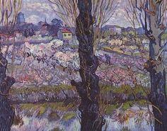 View of Arles, Flowering Orchards - Van Gogh, 1889.
