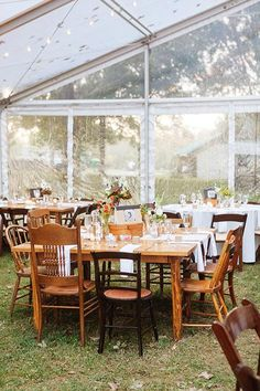 Rustic reception seating with mismatched chairs | @stephanielyell | Brides.com