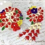 桜と小花の髪飾り✼赤 紫 菜の花✼つまみ細工