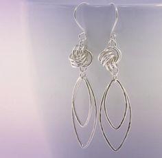 Love Knot Earrings Dangle Love Knot Earrings Double Marquise