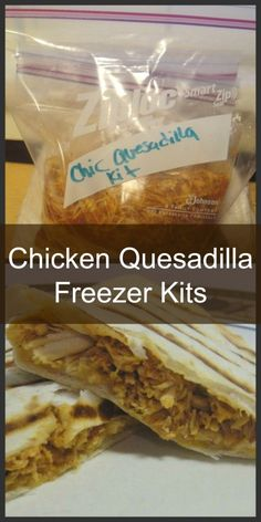 Homemade Chicken Quesadilla Freezer Kit. Get dinner on the table within 15 minutes when you have this delicious easy to put together freezer meal ready!