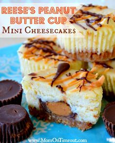Reeses Mini Cheesecakes Recipe | MomOnTimeout.com  Reese's PB Cups are enveloped in a rich, luscious mini cheesecake.