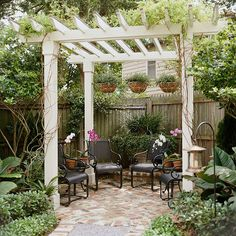 Lots of pergola ideas. More substantial than an arbor but less confining than a gazebo, a pergola may be as simple as an overhead structure attached to the back of your house to cover a deck. Diy Pergola, Building A Pergola, Small Pergola, Pergola Canopy, Pergola Attached To House, Outdoor Pergola, Wooden Pergola, Pergola Shade, Outdoor Rooms