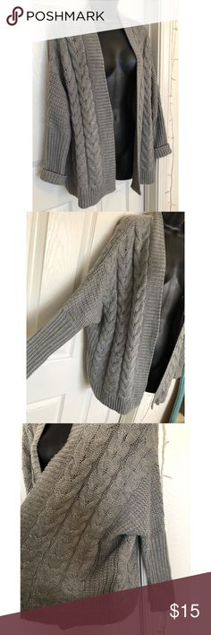 Forever 21 Gray Cable Knit Cardigan Sweater Adorable Forever 21 Gray Cable Knit Cardigan Sweater! Forever 21 Sweaters Cardigans