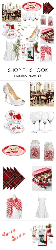 """Christmas Dinner"" by peridot11871 ❤ liked on Polyvore featuring Badgley Mischka, Furniture of America and Apt. 9"