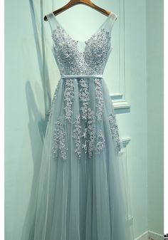A Line Applique Lace V-neck Long Tulle  Prom Dresses Evening Dresses(ED1632)