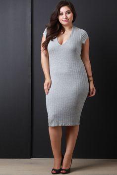 Heathered Ribbed Knit Bodycon Dress