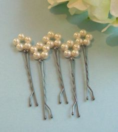 Pearls - Pearl - Pearl hair pins - bridal party pearl accents and ideas