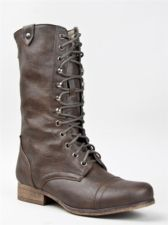 NEW STEVE MADDEN GIRL GEMIINI Women Lace up Combat Military Mid Calf Boot Brown