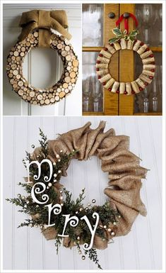 Christmas Time, Christmas Wreaths, Christmas Crafts, Christmas Decorations, Burlap Christmas, Decoupage, Wine Cork Crafts, Diy Wreath, Wood Wreath