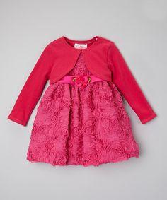Look at this #zulilyfind! Fuchsia Rosette Dress & Shrug - Infant, Toddler & Girls by Caldore #zulilyfinds