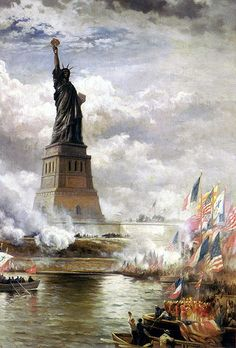 Post card of an old painting of the statue of liberty during a july 4th display