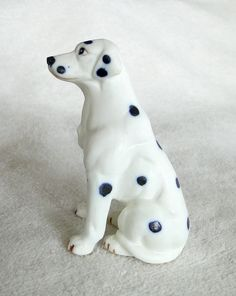 Vintage Dalmatian Dog Porcelain Figurine-Unmarked-3 1/4 inches tall-Bisque finish by TheCalamityHouse on Etsy