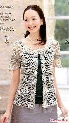 Openwork jackets for the summer. We knit . The Effective Pictures We Offer You About cardigan for Crochet Bolero Pattern, Crochet Blouse, Crochet Lace, Jacket Pattern, Top Pattern, Lace Bolero, Crochet Woman, Ladies Boutique, Lace Tops