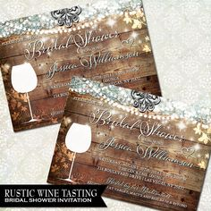 Rustic Bridal Shower Invitation Vineyard by OddLotEmporium www.oddlotweddings.com #rusticwedding #rusticbridalshower #winetastinginvite