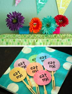 singing flowers and eat me picks for alice in wonderland party