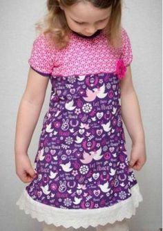 Jerseykleid nähen für Kinder - Schnittmuster und Nähanleitung via Makerist.de