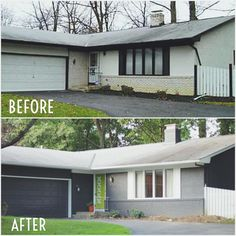 Home Makeover: before and after. Gray and lime green Exterior - What Do You Do, Dear?