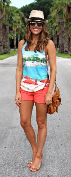 Landscape BR Factory top with orange shorts Vacation Outfits, Summer Outfits, Vacation Fashion, Vacation Style, Cruise Vacation, Summer Shorts, Short Outfits, Casual Outfits, Cute Outfits