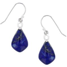 Kanishka Lapis Lazuli & Sterling Silver Kite Drop Earrings (70 AED) ❤ liked on Polyvore featuring jewelry, earrings, lapis lazuli jewelry, hook jewelry, sterling silver drop earrings, polish jewelry and drop earrings