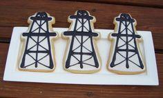 Oil Derrick Cookies  One Dozen by RolledDough on Etsy, $24.00