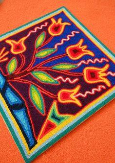 Huichol Art Yarn Painting Nierika / Mexican Folk Art