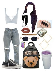 """""""Untitled #368"""" by mooncare on Polyvore featuring Topshop, Converse, Moschino and Lime Crime"""