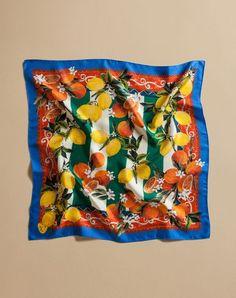 Dolce & gabbana square scarf 70 x 70 citrus fruit and stripes print, foulard… Dolce & Gabbana, Fruit Salad Ideas Parties, Bandana Design, Exclusive Clothing, New Fruit, Beautiful Fruits, Fruit Pattern, Fruit Print, Scarf Design
