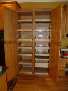 Pantry Cabinet: Wall Pantry Cabinet with Brown Stained Teak Wood ...