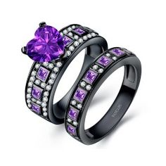 Heart Design Amethyst Black Wedding Ring Set Gemstone Ring