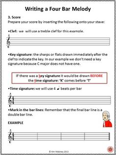MELODY WRITING Step by Step  Teaching young musicians how to write a melody is not easy.  I have used the process outlined in this resource for many years with my classes and it works without fail!   My students call it my melody writing recipe!
