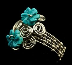 Woven Silver Ring with Turquoise Flowers by DianaKirkpatrickArt, $75.00