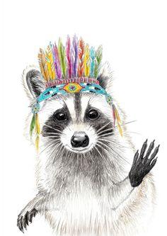 Waschbär gezeichnet von Janine Sommer ,raccoon,waschbär ,native american ,feather ,headpiece ,nature ,drawing ,illustration