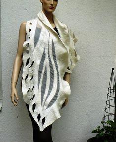 Nuno Felted Scarf merino wool silk Handmade Nuno by MajorLaura, $75.00, #felt, #nuno, #scarf