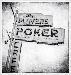 The Players Poker Cafe by Shakes The Clown, via Flickr | #retro #vintage #sign #neon #typography #texture #bw #blackandwhite #poker #facebook