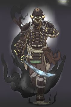 Orochi El Modisco De Serpiente Fantasy Armor, Dark Fantasy Art, Anime Fantasy, Samurai Concept, Warrior Concept Art, Character Concept, Character Art, Character Design, For Honor Samurai