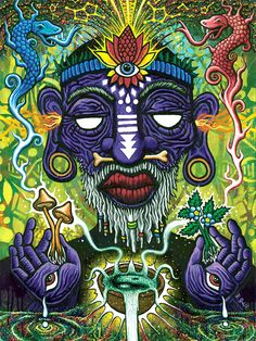 psychedelic wallpaper - The Witch Doctor 12 x 16 Archival Fine Art Print Original Painting by Ryan Gardell Arte Dope, Dope Art, Psychedelic Art, Gravure Illustration, Acid Art, Trippy Painting, Stoner Art, Witch Doctor, Psy Art