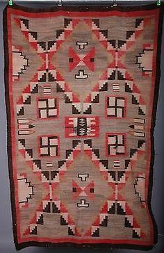 Early Navajo rug, blanket Native American textile, weaving whirling log large