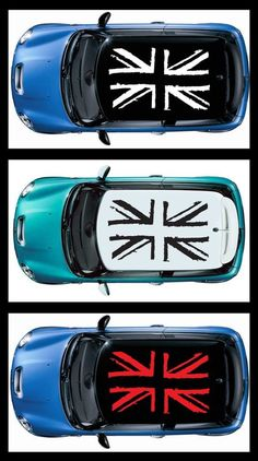 1 decals (4 pcs)  for Mini cooper s JCW 1 roof Graphic Grunge British Flag #Oracal
