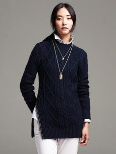 Banana Republic Faux-Leather Trim Cable-Knit Pullover