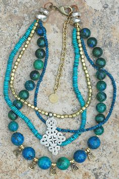 Blue Chrysocolla, Turquoise, Brass And Ethiopian Silver Cross Necklace