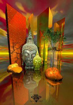 Contemporary Digital Art   Digital Art, Meditation, Oriental composition work of art, Spiritual ...