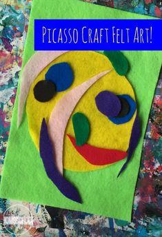 Picasso Portrait using felt - such a fun art project for kids learning about famous artists in homeschool, preschool, kindergarten, first grade, 2nd grade, 3rd grade, 4th grade, and 5th grade kids.